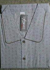 Herren Nachthemd gewebt langer Arm Brusttasche Baumwolle Grau Gr.50 NEU OVP /Z
