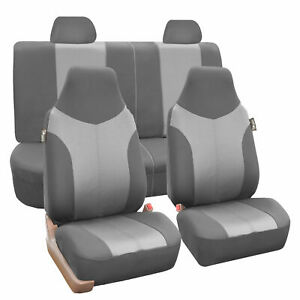 Highback Seat Covers Full Set Universal Fitment For Auto Car SUV Gray