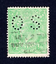 VERY RARE AUSTRALIA KGV 1/2d GREEN ELECTRO 3 STAMP WITH FLAW 3R7 - CV $400+