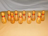 """VINTAGE 10 1980-90S CHRIST THE KING BOWLING LEAGUE 4"""" WOOD HIGH SCORE PINS"""