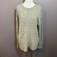 Lucky Brand Size M Gray Pullover Sweater Intricate Knit Pattern Cotton Blend