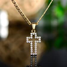 Sevil 18K Gold Plated Swarovski Elements Cross Pendant W/ Flat Mariner Chain