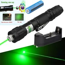 Super Bright 532nm Green Laser Pointer Pen Visible Beam Light+Star Cap+Batt+Char