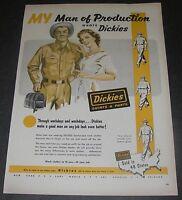 Print Ad 1952 CLOTHING Dickies Workwear Americana Magazine ART Man of Production