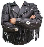 Vipzi Men Western wear Brando Biker Style Black Leather Fringe Jacket Concho MJ1