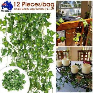 12PCS Artificial Ivy Leaf Vine Plant Garland Fake Foliage Green Wedding Party AU