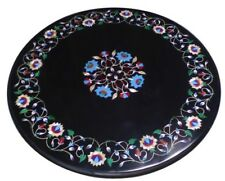 "18"" Black Marble center coffee Table Multi stones Floral Inlay Art Garden"