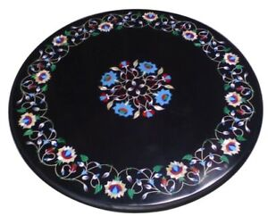 """18"""" Black Marble center coffee Table Multi stones Floral Inlay Art Garden"""