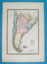 1848 NICE DETAILED ORIGINAL MAP CHILE ARGENTINA PATAGONIA URUGUAY FALKLANDS