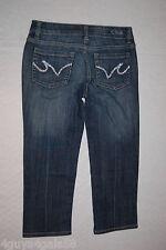 Junior Womens Pants DARK BLUE JEAN DENIM CAPRIS Pocket Bling LOW RISE Size 1