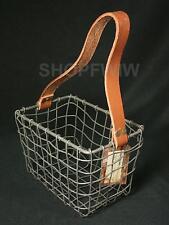 Primitive Rustic Rectangular Metal Farmhouse Basket With Leather Handle