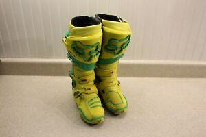 Fox Racing Instinct Boots Size 9 Yellow & Green Dirt Bike MX ATV Boots 8927