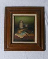 """Oil on Board Violin & Sheet Music Still Life Artist Signed Framed 16""""x18"""""""
