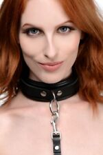 Mistress Isabella Sinclaire 3 Ring Leather Collar with Leash Bondage Dog Role Pl