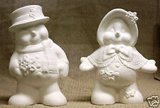 Ceramic Bisque Snowman Couple Clay Magic Mold 1417 1418 U-Paint Ready To Paint
