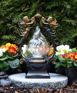 Grablampe Grablaterne mit LED Grableuchte Grablicht Grab Kerze Engel Bronze
