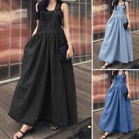 Womens Ladies Sleeveless Dungarees Dress Solid Maxi Kaftan Denim Dress Sundress