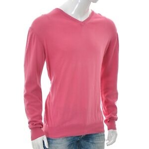 Canali Men V-Neck Knit Long Sleeve Pullover Sweater Shirt Size 56 Pink Authentic