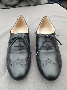 🍁🍂 CLARKS SOMERSET Black Leather Smart Brogues Hamble Oak 7D Flats Lace Up