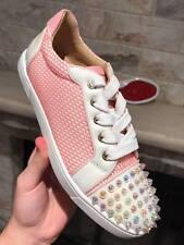 NIB Christian Louboutin Gondolita Flat Pink Dolly Spike Toe Lace Up Sneaker 36