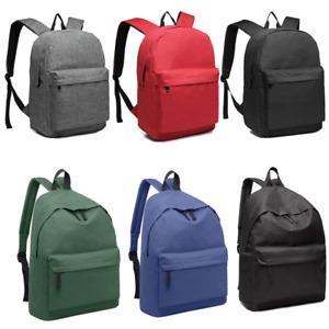 Girls Boys Large Functional Basic Backpack School Shoulder Bag Canvas Rucksack