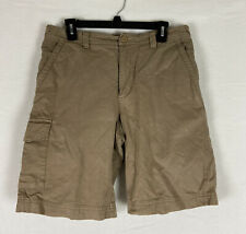 Ibex Mens Organic Cotton Chino Shorts Khaki Outdoor Five Pocket Flat Front Sz 32