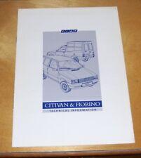 FIAT CITIVAN & FIORINO informazioni tecniche OPUSCOLO DEC 1990 FIAT EMISSIONE REGNO UNITO
