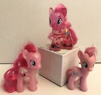 "3pc MLP My Little Pony G4 - PINKIE PIE - 3"" Brushable Water Cuties Glitter Globe"