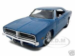 1969 DODGE CHARGER R/T BLUE 1:25 DIECAST MODEL CAR BY MAISTO 31256