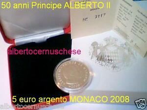 MONACO 5 euro 2008 Ag FDC Alberto Prince Albert II Монако 摩纳哥 モナコ