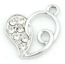 5 SILVER TONE FILIGREE RHINESTONE HEART CHARMS 20mm Wine Glass~Bracelet (98H) UK