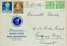GERMANY 1954 FLOWER DELIVERY CO ADVERT COVER WITH MIXED FRANKING STAMPS