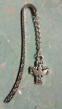 Cross Jesus Christ Holy Spirit Dove - bible bookmark 80mm silver tone (T4)