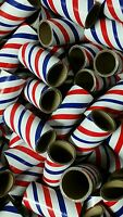 "100 FIREWORKS PYRO Cardboard Tubes 1/4 Stick Red/White/Blue 1"" x 2-1/2"" x 3/32"""