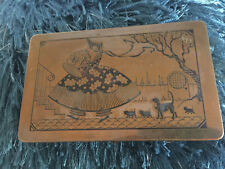 Vintage Scovill Made Southern Belle With Cats Antique Brass Deco Dresser Box