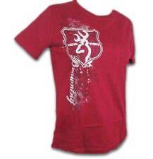 f45dbfd2603 Womens Browning Buckmark Flourish Shield Cardinal Red Classic T-shirt Size M