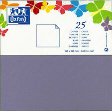 OXFORD Paquet de 25 CARTES CARREES 155 x 155 mm VIOLET 240 Grs/m2