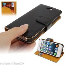 Custodia a Portafoglio Ecopelle Nera per iPhone 5 5s Carta di Credito FLIP Cover