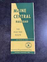 Vintage 1954 Maine Central Railway Passenger Schedule