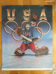 """1988 US WINTER OLYMPIC Ice Hockey Poster JIM CRAIG """"Do You Believe in Miracles?"""""""