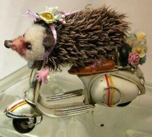Beak-Street Ooak Hedgehog riding scooter with flowers