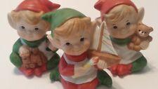 Vintage Homco Christmas Elves Elf Pixies Figurines 5253 Santas Helpers Set of 3