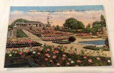 Vintage Paper Ephemera, Postcard, Linen, Rose Garden, Fort Worth, Texas