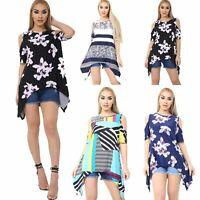 Womens Ladies Short Sleeve Floral Cold Shoulder Hanky Hem Top Swing Mini Dress