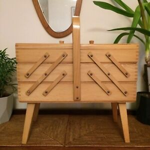 Vintage Wooden Cantilever Sewing Box - great condition!