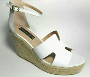BRAND NEW STEVEN By STEVE MADDEN Size 10M White Leather Wedge Ankle Sandal Shoes