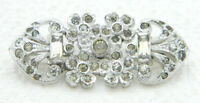 Vintage Art Deco Rhodium Plated Clear Glass Flower Patent Pending 82 Pin Brooch