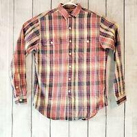 Polo Ralph Lauren Men's Long Sleeve Button Up Dress Shirt Plaid Size Medium EUC