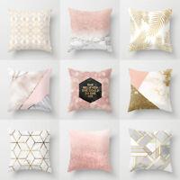 Gold Shining Polyester Printed Throw Pillow Case Sofa Cushion Cover Home Decor