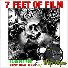 Hydrographic Film Skulls Bio Death Black And Clear 7 X 20 Film Dip Ape Hydro
